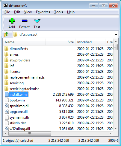 Sources Folder in Windows DVD
