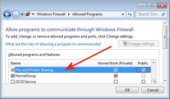 Enable 'File And Printer Sharing' in Windows Firewall