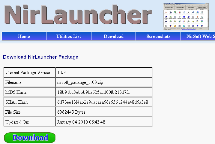 NirLauncher Download Page