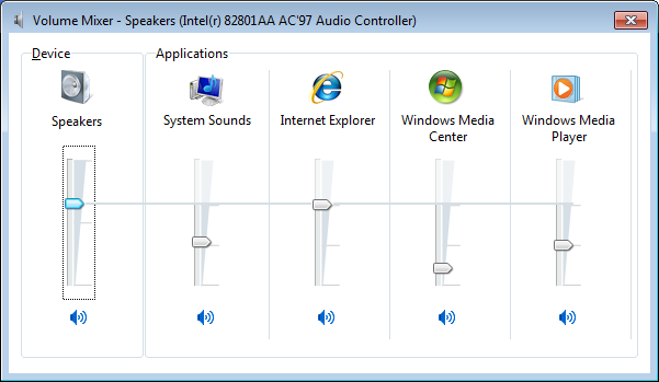 Windows 7 Volume Mixer