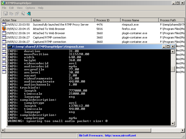 RTMPDumpHelper and RTMPDump toolkit