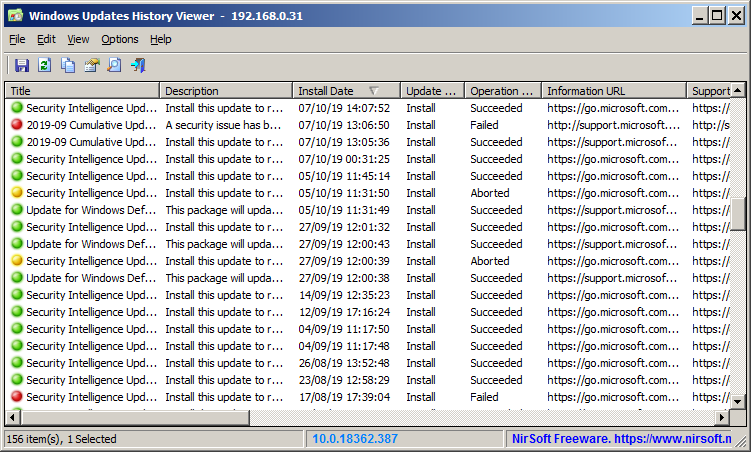 Windows Updates History Viewer