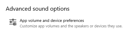 App volume and device preferences button