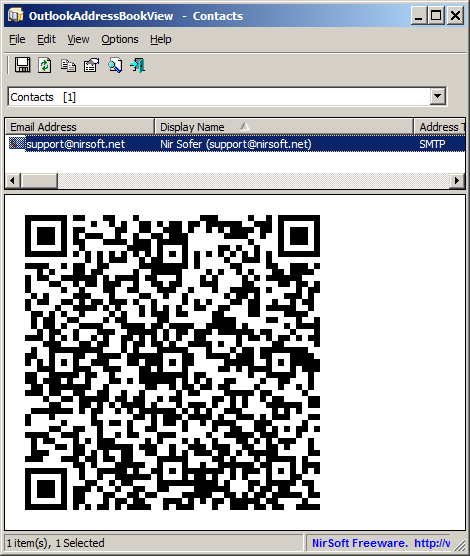 vCard QR Code for Outlook Address Book Contact