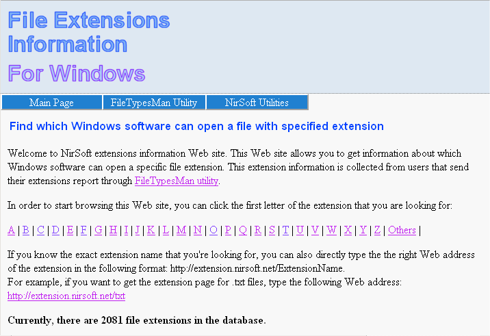 extension.nirsoft.net Web site
