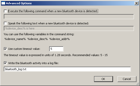 BluetoothView Advanced Options Window