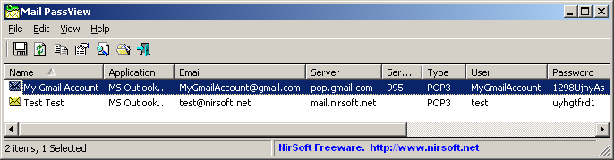 Recover lost Gmail password with Mail PassView