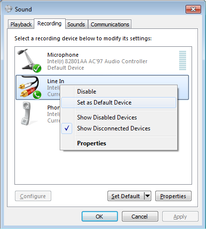 Set Default Sound Device