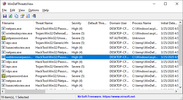 Windows Defender threats list