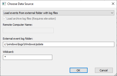Choose Windows update etl files